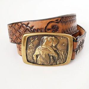 Vintage Brown Leather Western Engraved Belt XLarge